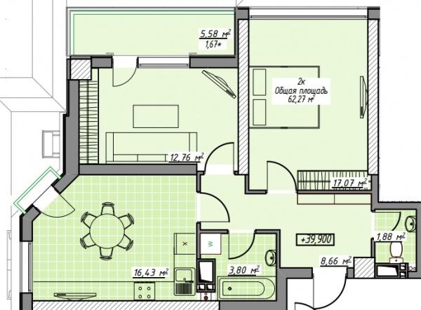 Планировки двухкомнатных квартир 62.27 м^2